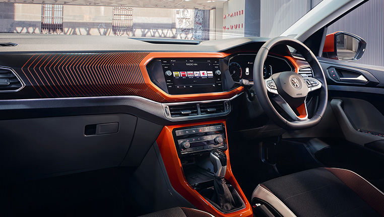 VW T-Cross orange interior at Barons